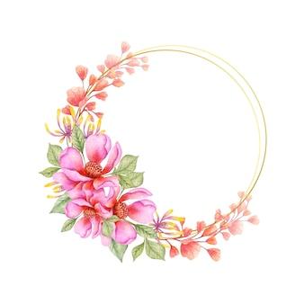 Akwarela Różowy I Pomarańczowy Kwiat Wiosny Ramki Premium Wektorów