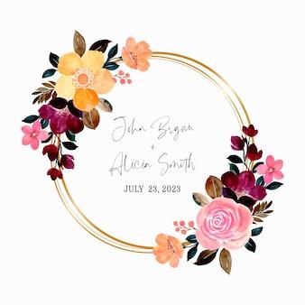 Akwarela różowy i żółty wieniec kwiatowy ze złotym kółkiem