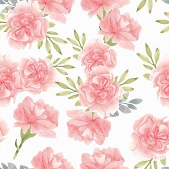 Akwarela różowy kwiat goździka wzór