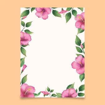 Akwarela różowy kwiat hibiskusa tło kwiat