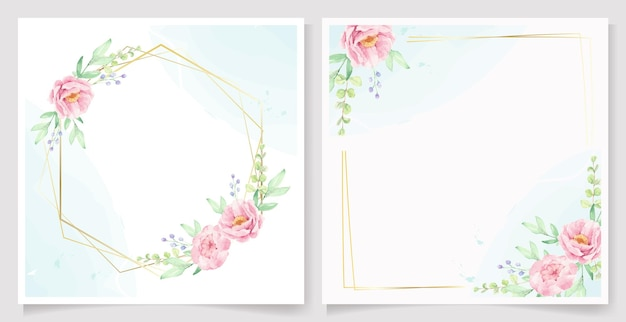Akwarela różowy kwiat piwonii z kolekcji szablonów kart zaproszenie złota rama