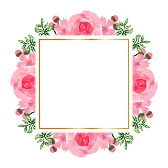 Akwarela różowy kwiat ramki tła