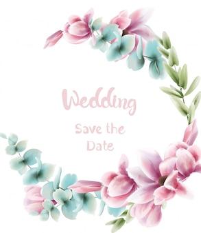 Akwarela różowy wieniec kwiatowy. niebieskie liście delikatna dekoracja. ślub, zaproszenie na urodziny, uroczystość