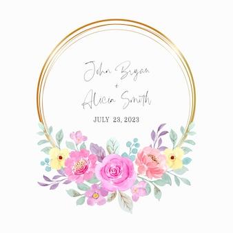 Akwarela różowy wieniec kwiatowy ze złotą ramą