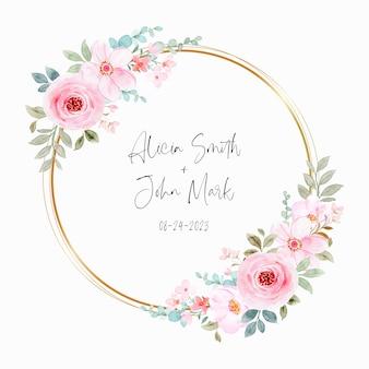 Akwarela różowy wieniec kwiatowy ze złotym kółkiem