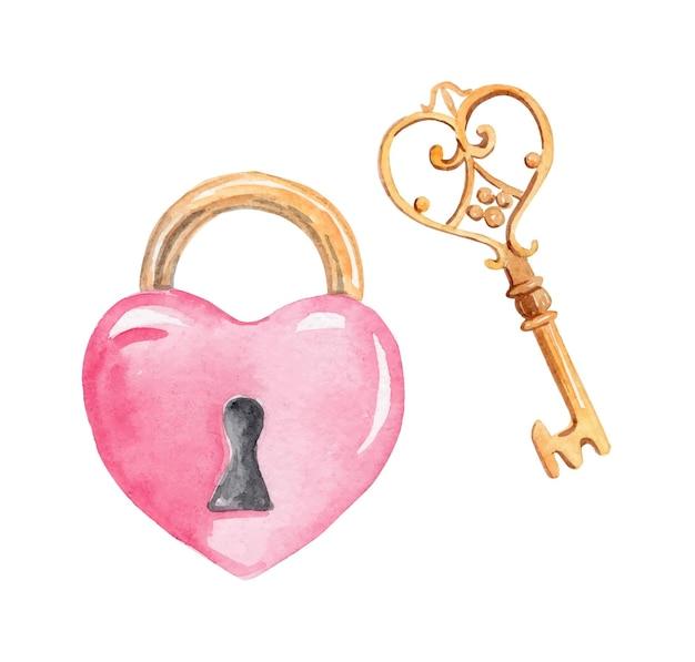 Akwarela różowy zamek i złoty klucz na białym tle