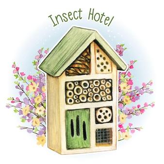Akwarela rustykalny hotel dla owadów
