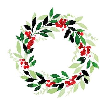 Akwarela rysunek boże narodzenie nowy rok wieniec z zielonych liści eukaliptusa i czerwonych jagód