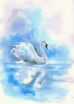 Akwarela rysunek łabędzia na rzece. ilustracja wektorowa