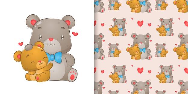 Akwarela, rysunek niedźwiedzia dotykając głowy małego misia w ilustracji zestaw wzór