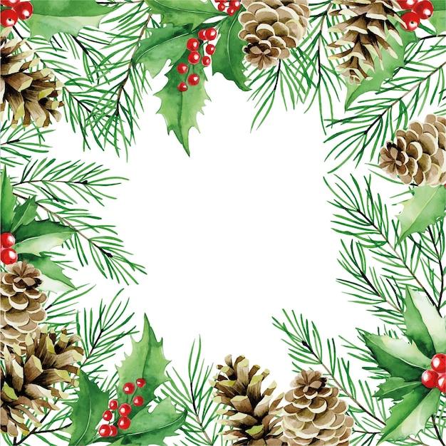 Akwarela rysunek świąteczna kwadratowa ramka z szyszkami gałęzi jodłowych i czerwoną różą