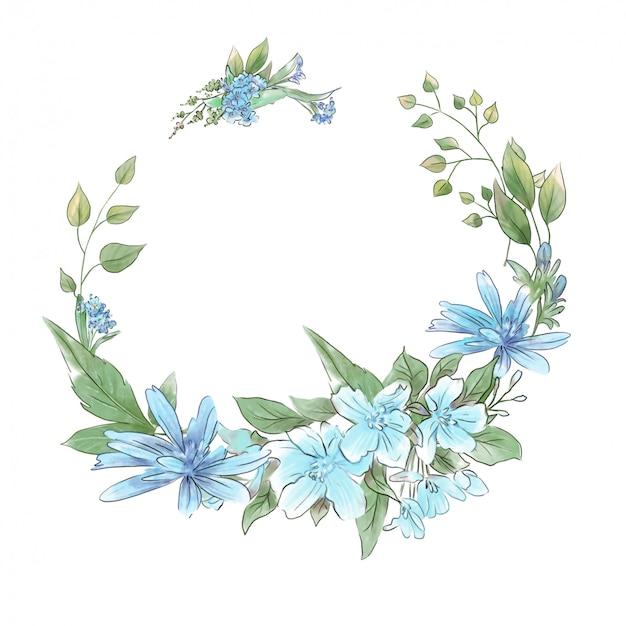 Akwarela rysunek wieniec delikatne wiosenne kwiaty