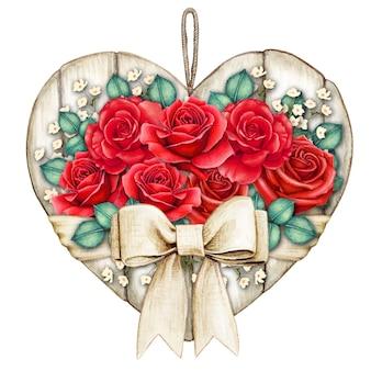 Akwarela shabby chic rustykalne białe drewniane serduszko z czerwonymi różami