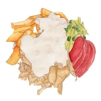 Akwarela shawarma frytki kawałki kurczaka ogórek pomidor majonez