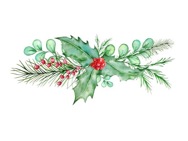 Akwarela skandynawska kompozycja świąteczna. ręcznie rysowane dekoracje zimowe. bukiet liści, gałązek, gałązek sosny i ostrokrzewu