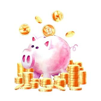 Akwarela skarbonka oszczędzająca pieniądze z kryptowalutą nowoczesne oszczędności
