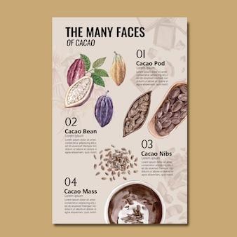 Akwarela składniki czekoladowe z drzew kakaowych gałęzi, plansza, ilustracja