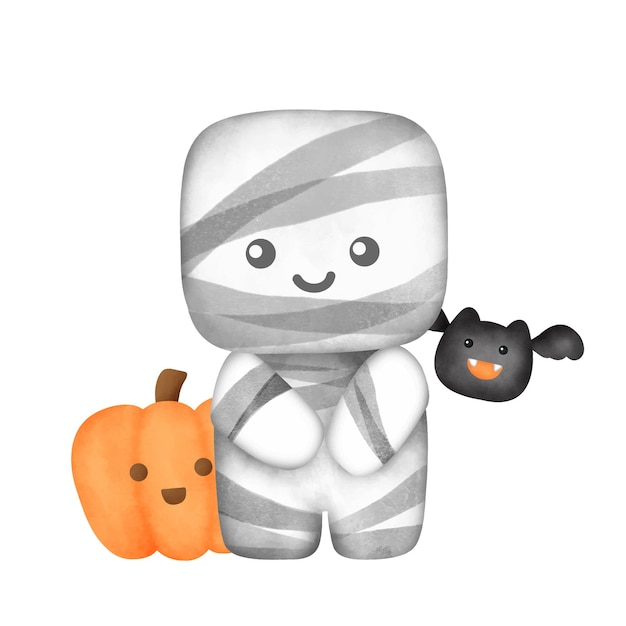 Akwarela śliczna mumia dla karty halloween.