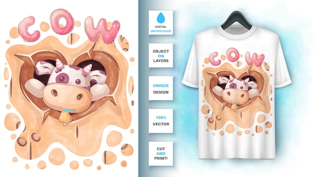 Akwarela słodka krowa - plakat i merchandising