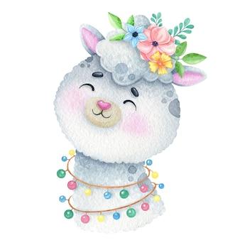 Akwarela słodka lama z ilustracją wieniec kwiatów