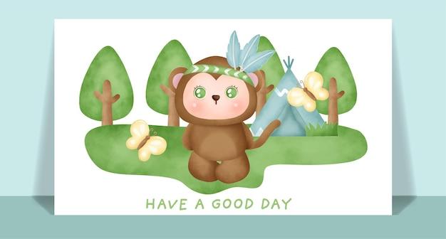 Akwarela słodka małpa boho w lesie kartkę z życzeniami.