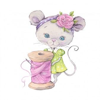 Akwarela słodka myszka z szpulką do szycia.