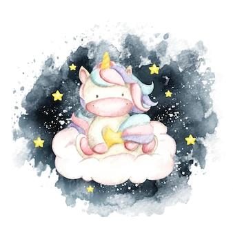 Akwarela słodki jednorożec siedzi na chmurze