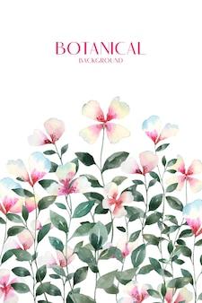 Akwarela słodki, kolorowy kwiat z zielonym tłem botanicznym.