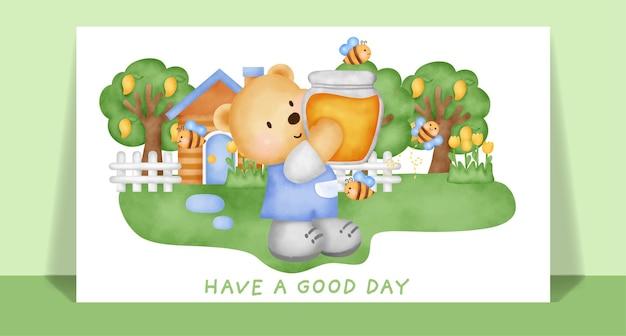 Akwarela słodki miś trzyma miód na kartkę z życzeniami.