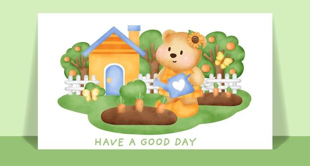 Akwarela słodki miś w kartkę z życzeniami w ogrodzie warzywnym.