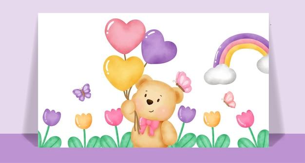 Akwarela słodki miś w ogrodzie kwiatowym dla karty z pozdrowieniami.