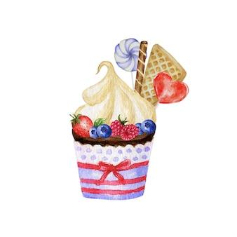 Akwarela słodkie desery ze śmietaną i ciastkami, gofry, ciasta, babeczki, jagody. ręcznie rysowane pyszne jedzenie ilustracja na białym tle. koncepcja logo czerwony niebieski słodycze piekarnia