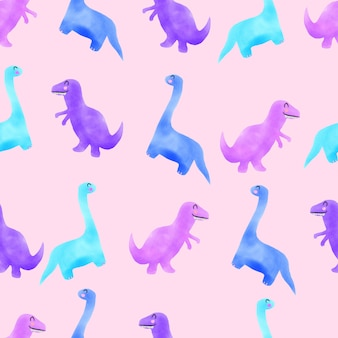 Akwarela słodkie dino ręcznie rysowane bezszwowe wzór różowy