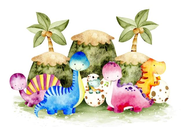 Akwarela słodkie dinozaury