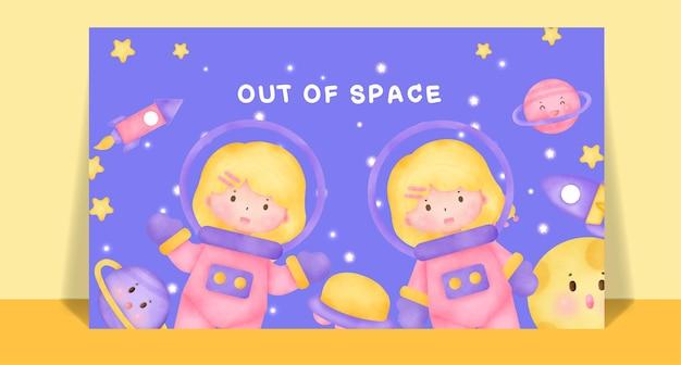 Akwarela słodkie dziewczyny w kosmicznej pocztówce.