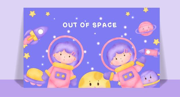 Akwarela słodkie dziewczyny z kosmicznej pocztówki.