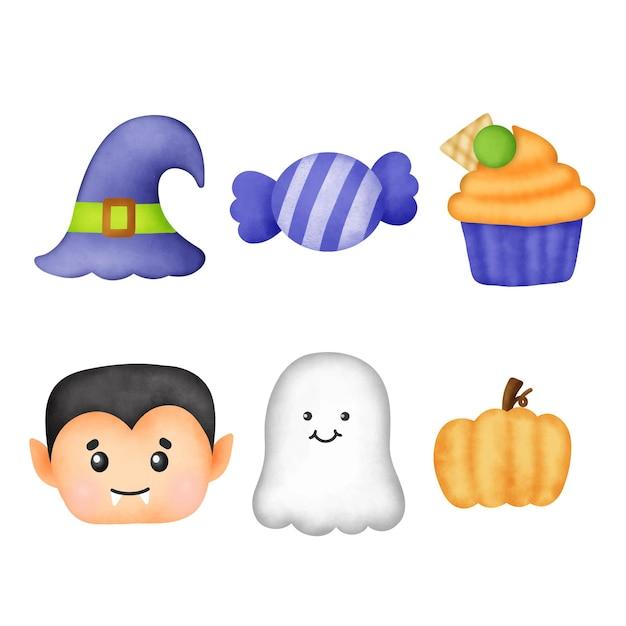 Akwarela słodkie elementy halloween clipart.