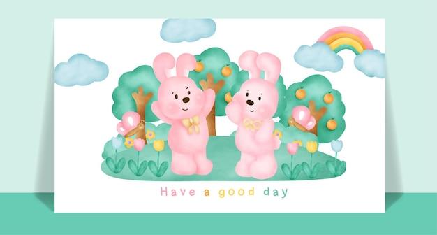 Akwarela słodkie króliki w lesie na pocztówkę