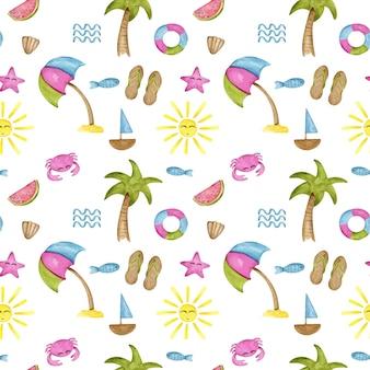 Akwarela słodkie lato wzór