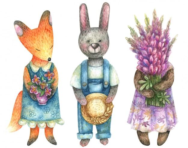 Akwarela słodkie rolników (lis, zając, niedźwiedź). w pęczkach trzymają bukiety kwiatów.