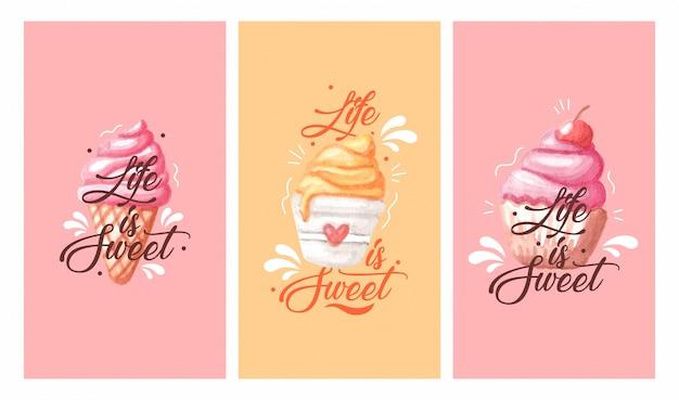 Akwarela słodkiego jedzenia. życie jest słodkie