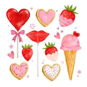 Akwarela słodycze walentynki kolekcja