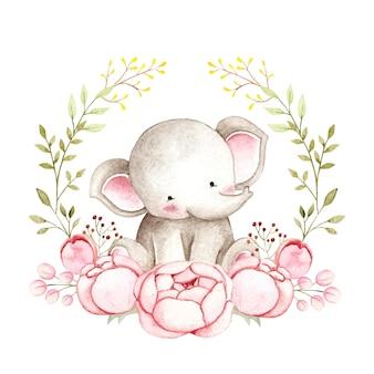 Akwarela słoń z wieńcem różowych kwiatów