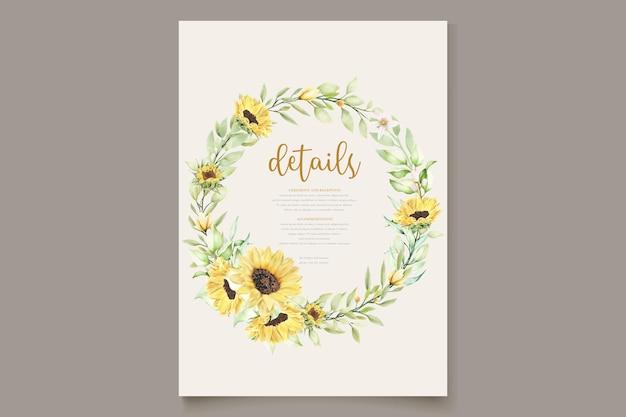 Akwarela słonecznik karta zaproszenie na ślub
