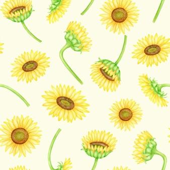 Akwarela słoneczniki bezszwowe wzór ręcznie malowane kwiatowym tle