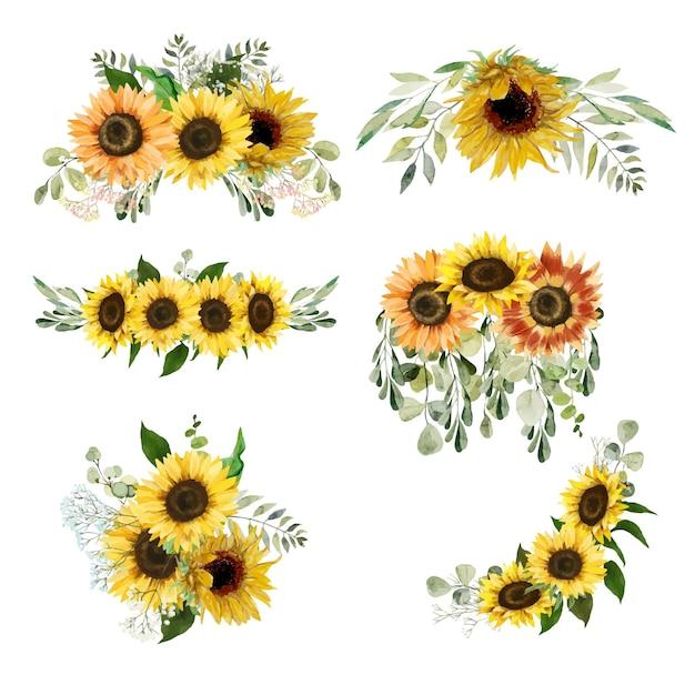 Akwarela słoneczniki i bukiety zieleni kwiatowy clipart