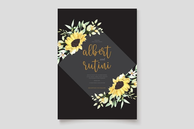 Akwarela słoneczniki zaproszenie na ślub zestaw kart