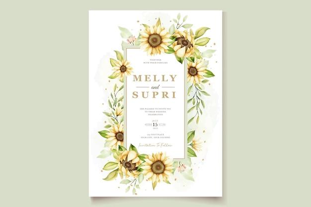 Akwarela słonecznikowa karta zaproszenie na ślub