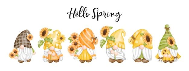 Akwarela słonecznikowe krasnale obraz cyfrowy witaj wiosenne pozdrowienia