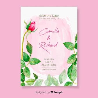 Akwarela ślub karty z kwiatami